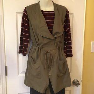 DREW Green Utility Vest Asymmetrical Zip Tie Waist
